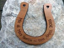 Personalised Wood Wedding Horseshoe : Wooden engraved traditional Wedding gift