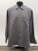 Ermenegildo Zegna Men's Shirt Size Large Black Gray Stripe