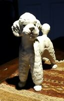 "Vintage White and Grey Porcelain Poodle Figurine-Made in Japan, 4"" x 4.5"""