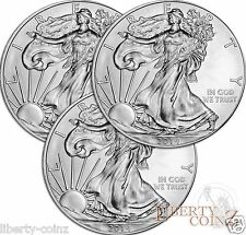 Three 2014 Liberty American Silver Eagle.999 Fine Silver Coin GEM BU 1 Troy Oz