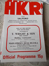 3.12.78 Hull KR v Salford programme John Player Trophy