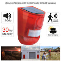 Solar Strobe Light with Motion Detector Solar Alarm Light 110db Sound Security