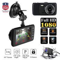 4''HD 1080P Car DVR Camera Dash Cam Vehicle Dual Lens Video Recorder G-Sensor US