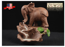 Ceramic Backflow Incense Corn Burner Holder Elephant & Lotus 008 & 10pcs cones
