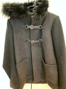 BRAND NEW BLACK COAT WITH FUR HOOD FROM MAJE - SIZE FR 40 RRP £485