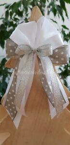 10 Weihnachtsschleifen Christbaumschmuck Weihnachten weiß silber