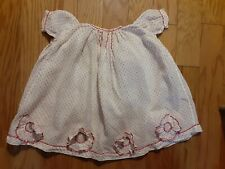 Vintage Baby Dress White with Red Dotted Swiss with Ruffled Flowers