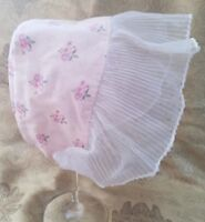 A41 VTG Doll Bonnet Pink Floral Sheer Ruffle Baby Teddy Bear Frilly Chic Antique