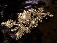 Vintage Silver & Marcasite Flower Brooch