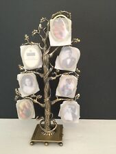 "New NIB Family Tree Photo Holder Celebrate Family 11""h Holds 14 Photos Brass"