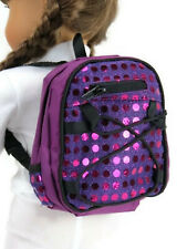Purple Backpack with Sequins for 18 inch American Girl Doll Clothes Accessories