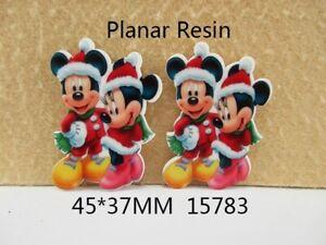 5 x 37MM MINNIE + MICKEY XMAS CHRISTMAS LASER CUT FLAT BACK RESIN HEADBANDS BOWS