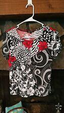 Women's Blouse Size S Black White Red Pretty Print Jessica Max Brand