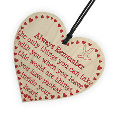 Memorial Remembrance Gift - Inspiration Motivation Gift Hanging Wood Heart Sign