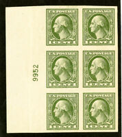 US Stamps # 531 XF OG NH Wide PB of 6 Scott Value $200.00