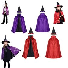 Boys Girls Witch Outfit Party Dress Kid Halloween Costume Double Side Cloak Cape