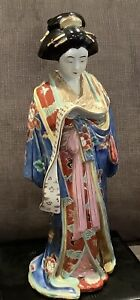 Antique Japanese Porcelain Kutani Geisha Woman Reading Scroll  Okimono Figurine