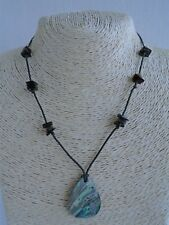 Rainbow Mother of Pearl Shell Pendant Necklace. Black & Brown Natural Stone Bead
