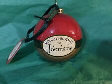 MERRY CHRISTMAS to JASMINE Paper Mache Ball Ornament STOCKING STUFFER Teacher
