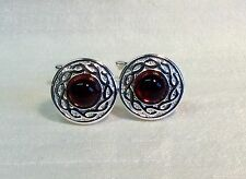 Cufflinks with AMBER Stone and Celtic style pattern. Silver finish, round.