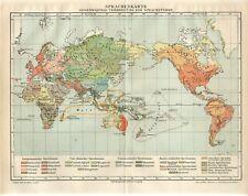 1895 WORLD HUMAN PEOPLE LANGUAGES Antique Map