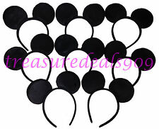 36 Pcs Mickey Mouse Ear Headbands Solid Black Party Favors Costume Minnie Ears