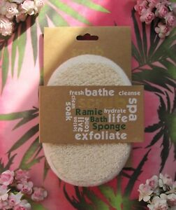 SCRUB 100% Natural Cotton & Ramie Bath Sponge Cleanse Massage Exfoliate Spa Body