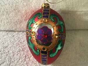 Christmas ornament glass egg red with colorful designs & jewels CH3816