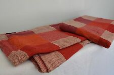 Red Cream Square Blanket Ribbed Throw Cotton King Bed Cover 260cm x 240cm Soft