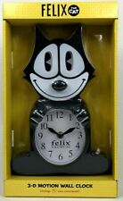 FELIX THE CAT NJ CROCE AUTHENTIC ANIMATED MOTION 3D WALL CLOCK BLACK NEW