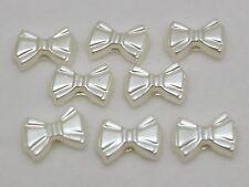 200 Ivory Acrylic Pearl Flatback Bows BowKnot Cabochons 12mm Scrapbook Craft