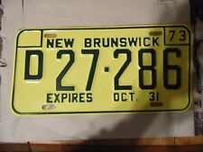 NEW BRUNSWICK  CANADA  1973 LICENSE PLATE RARE -YELLOW