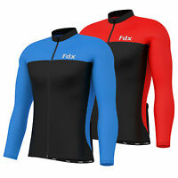 FDX Mens Cycling Jersey Long Sleeve Coldwear Thermal Fleece Top Bike racing team