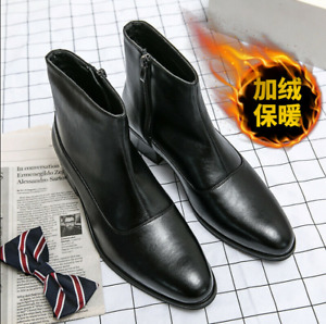 Men Side Zipper Pointy Toe Cuban Heel Leather Chelsea Boots High Top Shoes US10