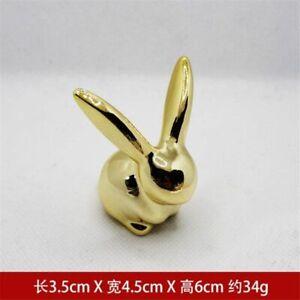 Rabbit Gold Plating Animal Figurine Abstract Geometric Style Ceramic Sculpture