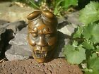Hand Carved boxwood netsuke Devil mask with horns collectable wood figure