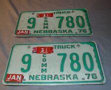 Nebraska License Plates, Set of (2) 1976, Buffalo, HOT, RAT ROD, Truck, (T)