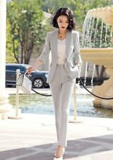 Tailleur donna completo elegante grigio chiaro giacca  pantaloni  4890