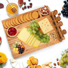 Large Wooden Solid Cheese Board Set includes 4 Cheese Knives Cutting & Serving