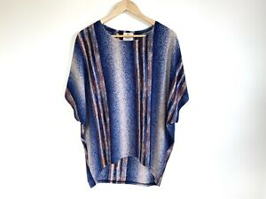 Isabella Boho Size M Ladies Top Relaxed Fit Blue Striped Short Sleeve Batwing