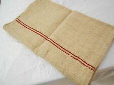 PERFECT Vtg Antique RED STRIPE European HEMP LINEN FEED SACK GRAIN BAG 21X52