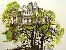 Marie Berger Signed & Numbered Hand Painted Art Etching house and trees