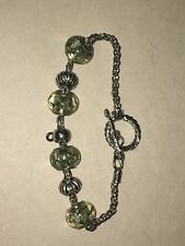 925  PALE GREEN CRACKLE 4 CHARM BEADS ~ EUROPEAN STYLE BRACELET IS NOT SILVER