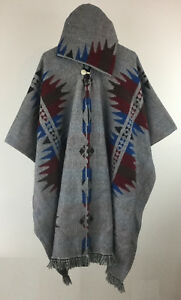Poncho Hood Wool Grey Unisex Cape Indigenous Native Inka Mapuche - Ecuador