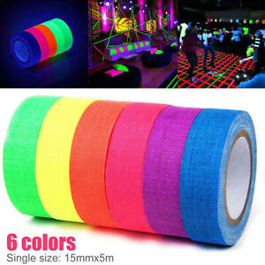 6Rolls UV Reactive Tape Blacklight Fluorescent Tape Glow in The Dark Neon Gaf PT