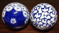 "2 Blue & White Porcelain Balls 3 1/4"" carpet oriental delft ceramic"