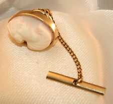 100% Genuine Vintage Solid 9K Yellow Gold Natural Shell Cameo T-Bar Pin Brooch