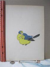 Vintage Woodcut,BLUE+YELLOW BIRDS,Harada,Poems,Claudel