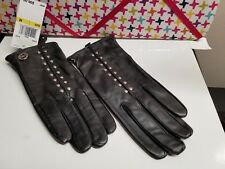 MICHAEL KORS BLACK LEATHER WOMEN'S GLOVES WITH SILVER STUDS SZ M/L
