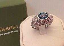JUDITH RIPKA STERLING Silver RING Blue Sapphire CZ Original Box Nice!